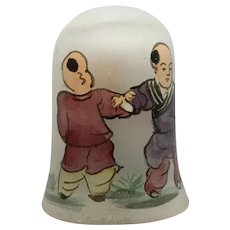 Rare Reverse Glass Chinese Monk Hand Painted Thimble