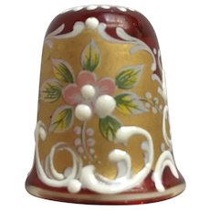 Ruby Czech Bohemian Thimble Glass Hand Painted Gold tone Floral Design Sewing