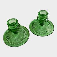 Emerald Green Candlestick Holders Swirl Design Glass