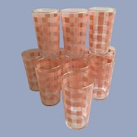 Mid-Century Federal Glass Pink Juice Tumblers Striped Gold Trimmed Set 11
