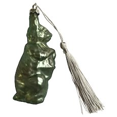 Easter Mercury Glass Green Bunny Rabbit Ornament New Tassel
