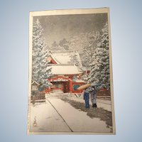 Hasui, Kawase (1883-1957) Show at the Shrine Front Woodblock Print Signed by Artist