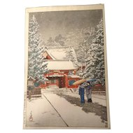 Hasui, Kawase (1883-1957) Show at the Shrine Front (Hie Shrine) 社頭の雪(日枝神社)Woodblock - 木版画 Print Works on Paper Signed by Artist