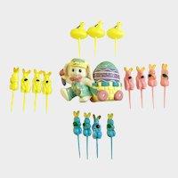 Vintage Easter Bunnies and Chicks Cupcake Picks Hallmark Rabbit Decoration Group