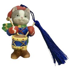 Bronson Collectibles Kitty Cat Christmas Ornament The Drummer Figurine Upgraded Tassel 1996 #14