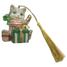 Bronson Collectibles Kitty Cat Christmas Ornament Curious Chris Figurine Upgraded Tassel 1996 #17