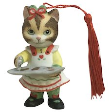 Bronson Collectibles Kitty Cat Christmas Ornament Ginger Figurine Upgraded Tassel 1996 #8
