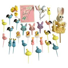 33 Vintage Easter Bunny Rabbits Roosters Chicks Cupcake Picks Ephemera  Decorations Group