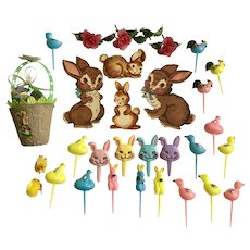 30 Vintage Easter Bunny Rabbits Roosters Chicks Cupcake Picks Ephemera Decorations Group