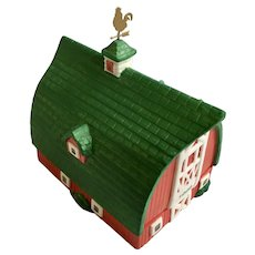 Figi's Gifts Collectable 1998 Red Barn Ceramic Rooster Trinket Box