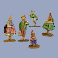 Rare Dept. 56 General Store Bunny Rabbit Figures Discontinued HTF