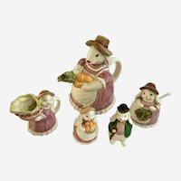 Otagiri Easter Bunny Teapot Creamer Sugar Bowl Salt & Pepper Ceramic Japan