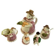 Otagiri Easter Bunny Teapot Creamer Sugar Bowl Salt & Pepper Ceramic Japan