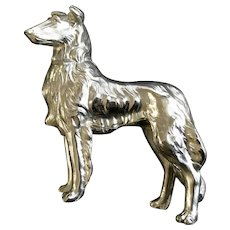 Mid-Century Spelter Metal German Shepherd Dog Figurine