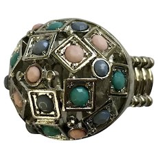 Beautiful Large Silver-tone Pink & Blue Beaded Stretch Band Ring Size 8-1/2