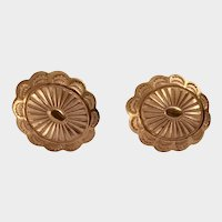 Gorgeous Copper Design Stamped Screw Back Earrings