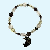 Long Neck Black Cat Charm Silver-tone Black Beads Bracelet