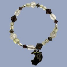 Long Neck Black Cat Charm Silver-tone Black Beads Bracelet