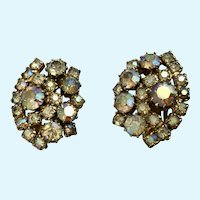 Aurora Borealis Rainbow Sparkle Rhinestone Clip-on Earrings