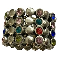 Rainbow Silver-tone Stretch Band Ring Size 8
