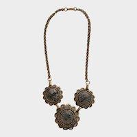 "Copper Color Purple Faux Stone Choker Necklace 15-1/2"""