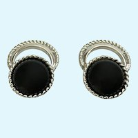 Vintage SAC Sarah Coventry Silver-tone Black Beaded Clip-on Earrings