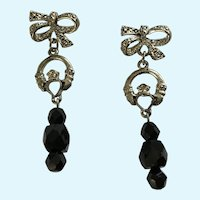 Silver-tone Black Glass Beaded Bow Pierced Earrings
