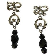 Silver-tone Black Glass Beaded Bow Pierced Earrings
