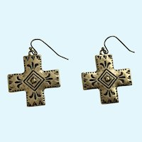 Gold-tone Metal Black Design Cross Fish Hook Earrings