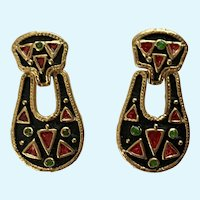 Beautiful Black Gold-tone Red & Green Sparkle Pierced Earrings