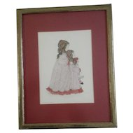 Mitzie Sommer Watercolor Embellished Print Signed in Pencil and numbered 2/85 1973 Titled, 'Lace & Laurie' Holding a Raggedy Ann Doll
