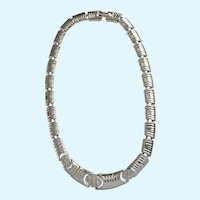 Stunning Shiny Bright Silver-tone Faux Diamond Choker Necklace 15-1/2""