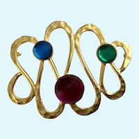 Looped Large Gold-tone Purple Blue Green Brooch Pin
