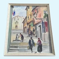 Mid-Century European Street Scene Watercolor Painting Signed by Artist