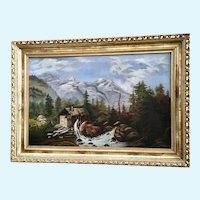 Old Waterwheel Sawmill On a River in Forested Landscape Oil Painting