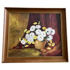 Patricia Will, White Mums and Yellow Daisies Still Life Oil Painting Signed by Artist