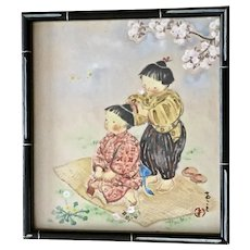 Asian Children Fixing Hair Original Watercolor Painting Signed by Artist
