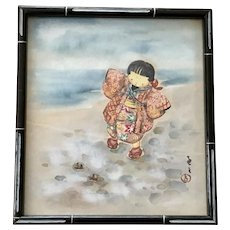 Asian Girl on Beach Original Watercolor Painting Signed by Artist