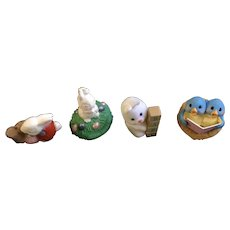 4 Hallmark Cards Easter Bunny Miniature Figurines Cake Toppers