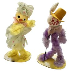 Mid-Century Easter Bunny and Chick Dancers Anthropomorphic Pipe Cleaner Figures