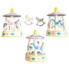Baby Toddlers Birthday Cake Toppers Carousel Horses Plastic Figure Set