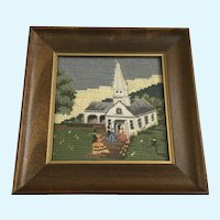 Folk Art Yarn Needlepoint Embroidered  Country Church Wall Picture Decor