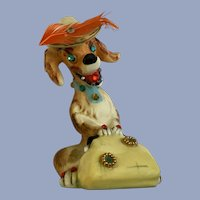 Mid-Century Express Rhinestone Anthropomorphic Dog With Eyelashes Figurine Japan