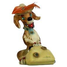 Mid-Century Express Rhinestone Anthropomorphic Dog With Eyelashes Figurine Japan