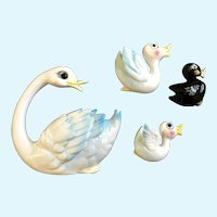Mid-Century Swan and Babies Wall Plaques Hanging  Enesco