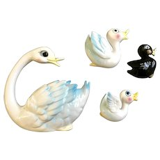Mid-Century Swan and Babies Wall Plaques Hanging  Enesco E-0660 Vintage Originals