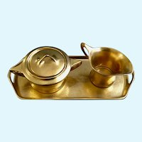 Fraunfelter Ohio Art Deco Gold Tray Creamer and Sugar Bowl