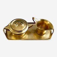 Fraunfelter Ohio Art Deco Gold Tray Creamer and Sugar Bowl