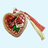 Christopher Radko To My Valentine Glass Heart with Two Tassels Hanging Ornament