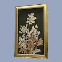 Beautiful Pressed Dried Flowers in Frame Folk Art